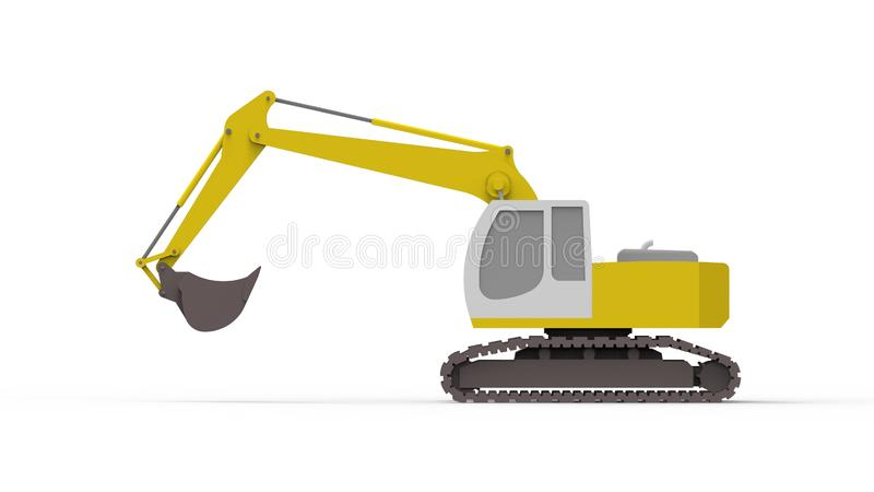 3d rendering of an excavator isolated in white studio background. 3d rendering of a single excavator isolated in white studio background stock illustration