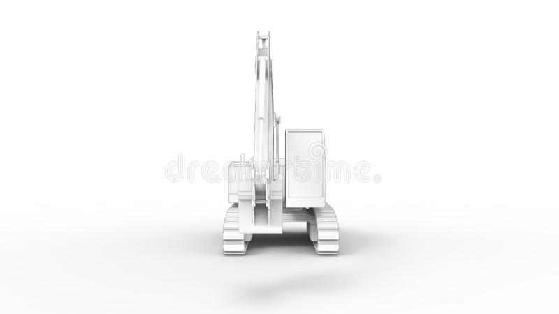 3d rendering of an excavator isolated in white studio background. 3d rendering of a single excavator isolated in white studio background vector illustration