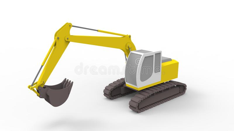 3d rendering of an excavator isolated in white studio background. 3d rendering of a single excavator isolated in white studio background royalty free illustration