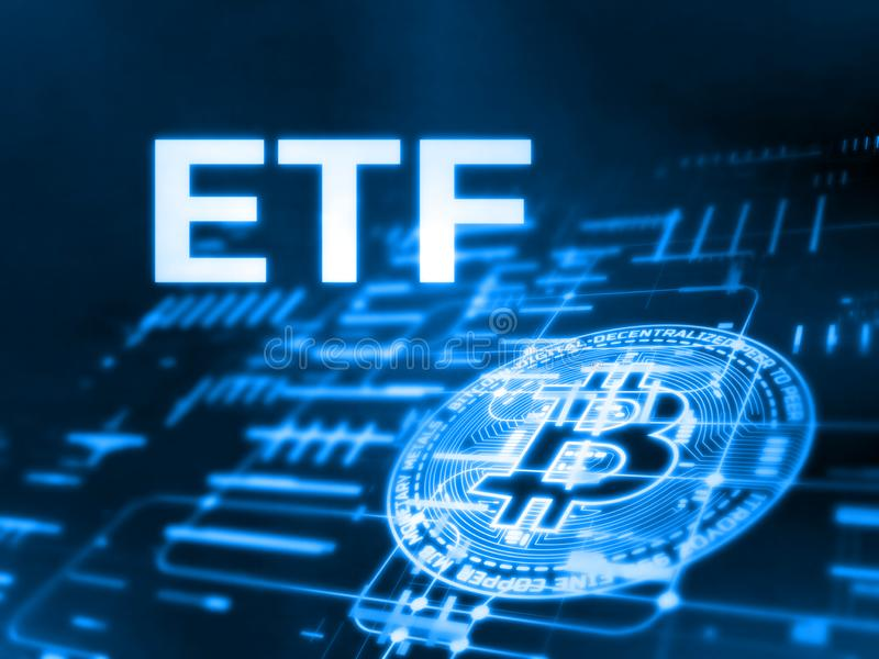 3D Rendering of Exchange Traded Fund ETF text and Bitcoin BTC on glowing abstract led data and circuit diagram. stock illustration