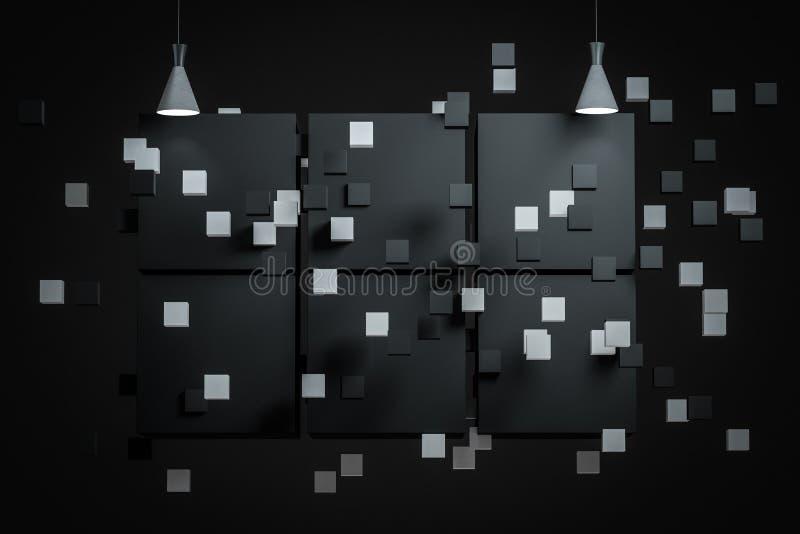 3d rendering, the exhibition wall with exquisite top light. Computer digital background spotlight room show dark scene studio empty floodlight gallery night vector illustration