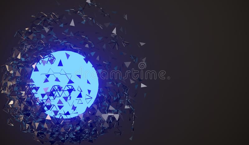Exploding Sphere With Glowing Core royalty free illustration