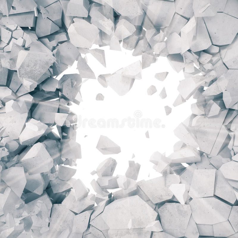 3d rendering, explosion, broken concrete wall, cracked earth, bullet hole, destruction, abstract background with volume royalty free illustration