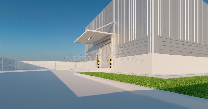 Factory and shutter door. 3D rendering of factory building and shutter door for industrial background vector illustration