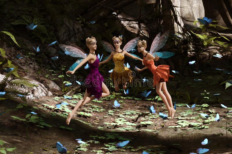 A fairies flying in magical forest vector illustration