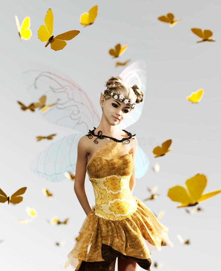 A fairy flying on the sky royalty free illustration