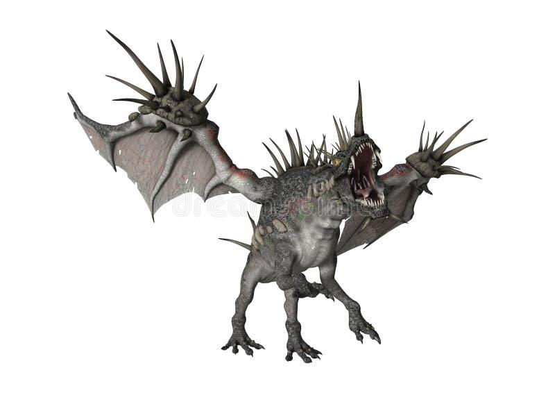 3D Rendering Fantasy Dragon on White. 3D rendering of a fantasy spiky dragon on white background royalty free illustration