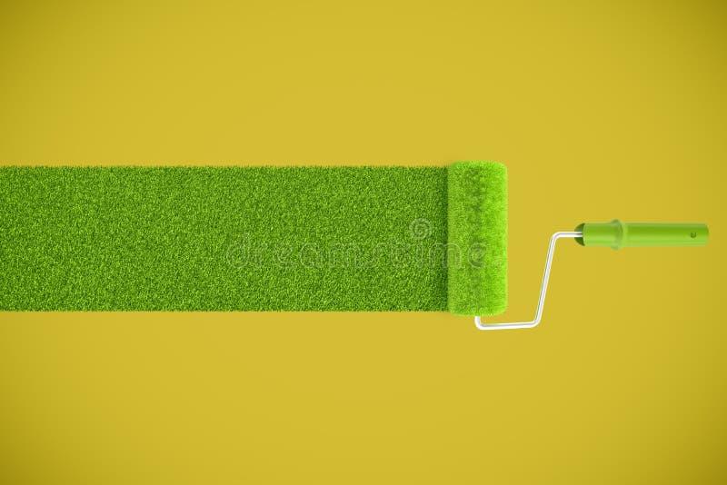 3d rendering farba rolownik opuszcza ślad świeża zielona gazon trawa na żółtym tle zdjęcia stock