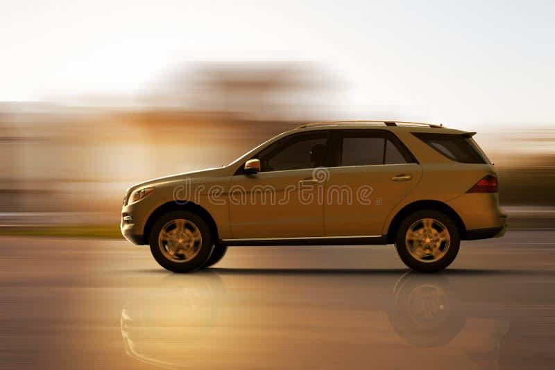 A fast moving SUV vector illustration