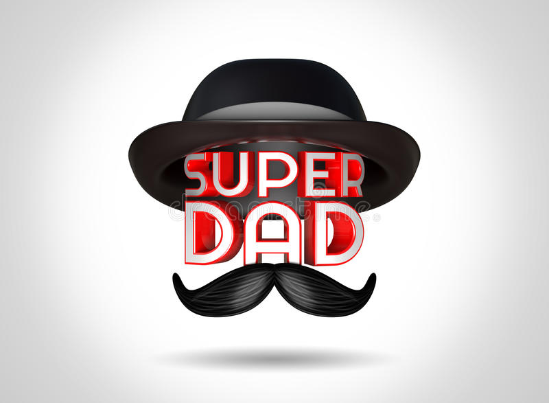3d rendering Father's Day celebrations concept with stylish text Super Dad. 3d rendering Father's Day celebrations concept with stylish text Super Dad and a hat stock illustration