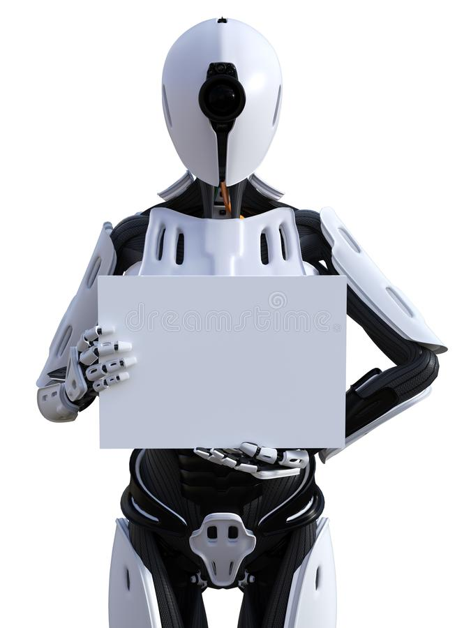 3D rendering of a female android robot holding sign. 3D rendering of a female android robot holding a blank sign in its hand. White background royalty free illustration