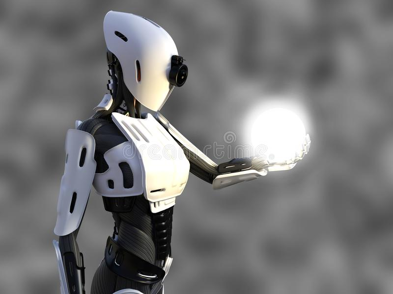 3D rendering of a female android robot holding energy sphere. 3D rendering of a female android robot holding a glowing sphere of energy or light in her hand stock illustration