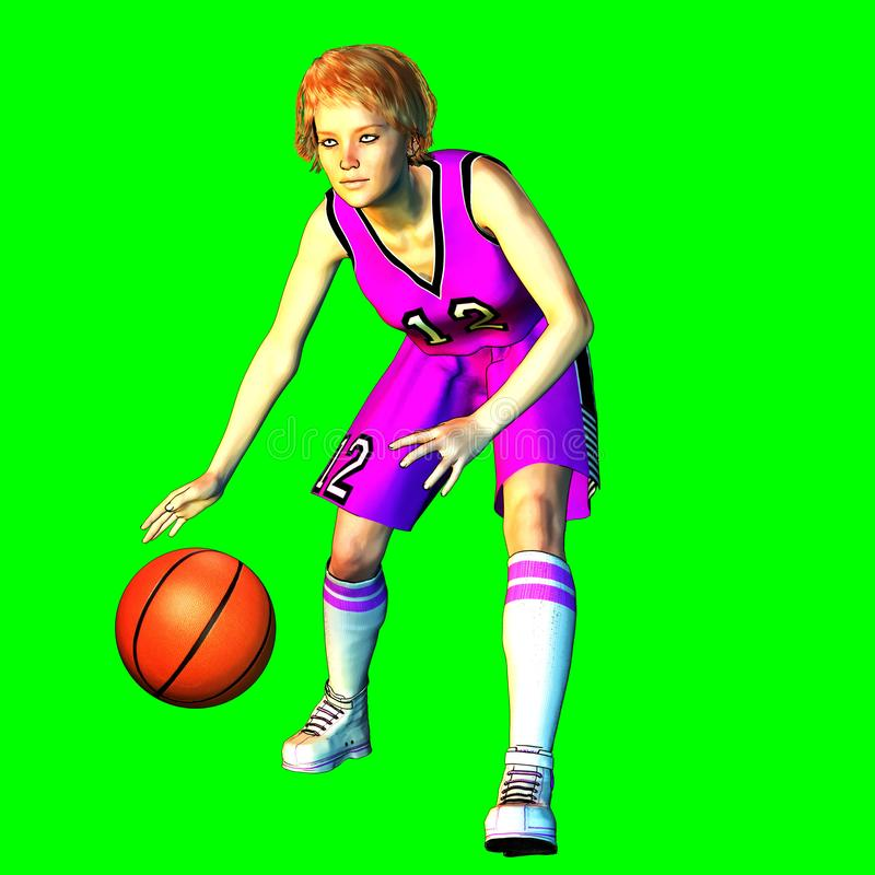3D rendering of female basketball player royalty free illustration