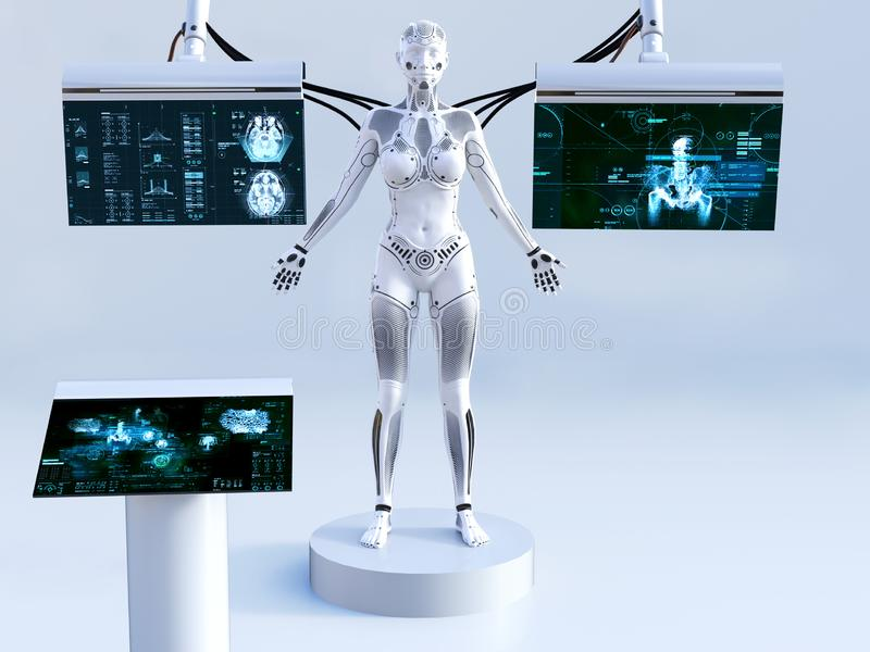 3D rendering of female robot connected to screens. 3D rendering of a robot woman standing with closed eyes. She is connected to screens for scanning or charging royalty free illustration