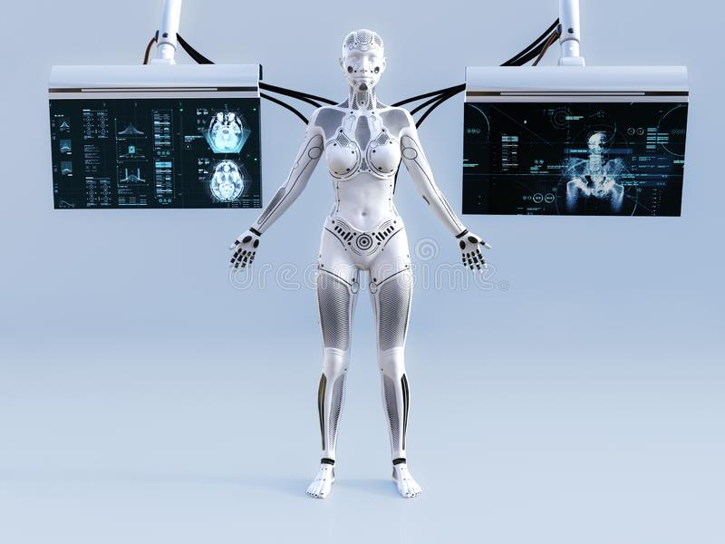 3D rendering of female robot connected to screens. 3D rendering of a robot woman standing with closed eyes. She is connected to two screens for scanning or stock illustration
