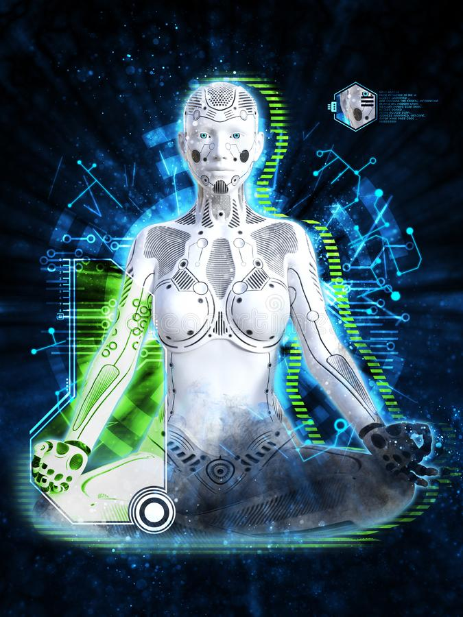 3D rendering of female robot meditating, technology concept. 3D rendering of a robot woman sitting in space and meditating. Futuristic digital technology vector illustration