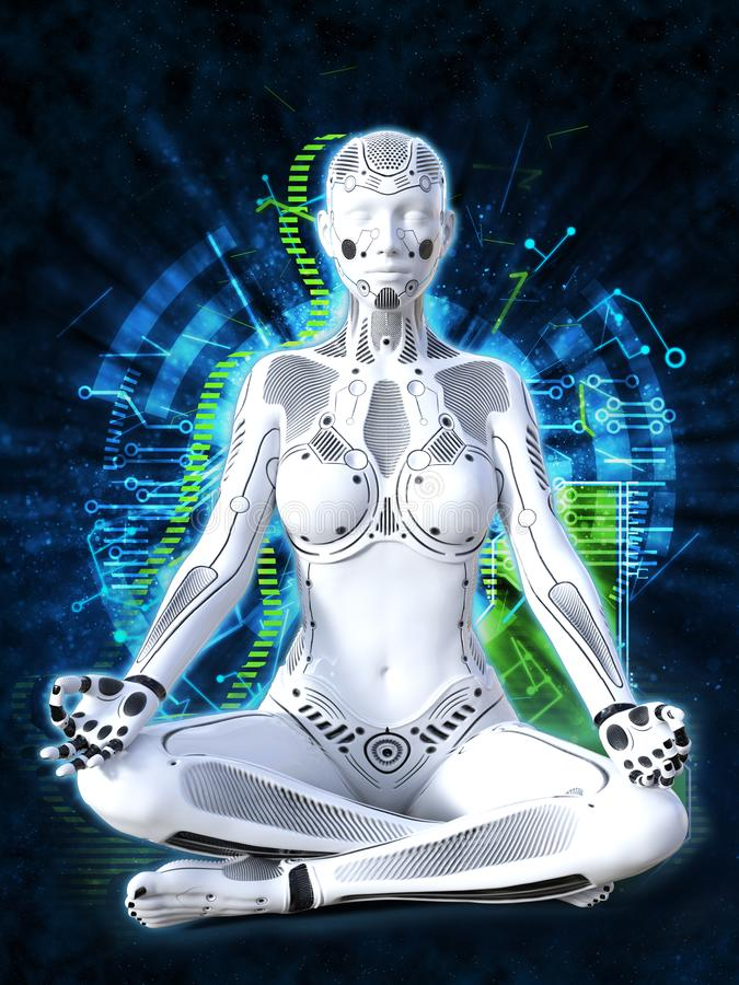 3D rendering of female robot meditating, technology concept. 3D rendering of a robot woman sitting in space and meditating with her eyes closed. Futuristic royalty free illustration