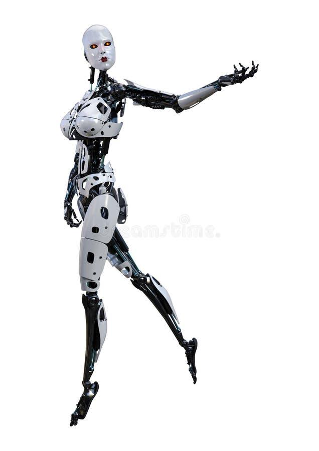 3D Rendering Female Robot on White stock illustration