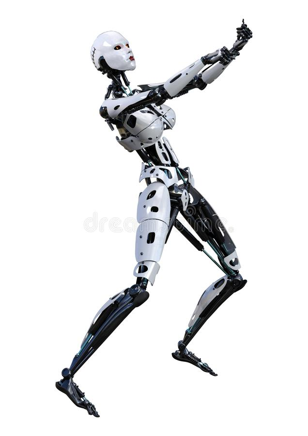 3D Rendering Female Robot on White vector illustration