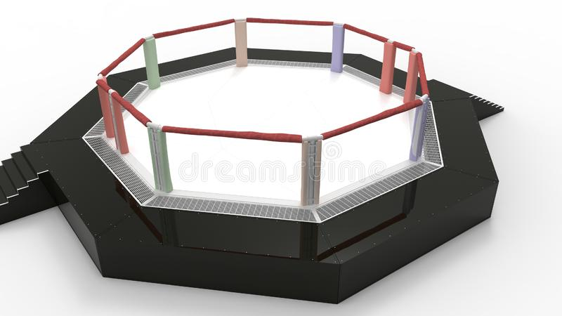 3d rendering of a fighting mma ring cage  in studio background. 3d rendering of a fighting wrestling ring  in a studio background stock image