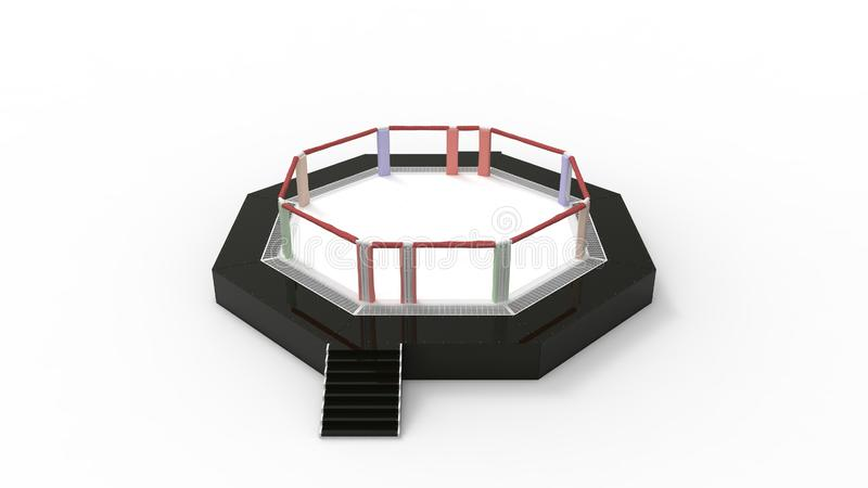 3d rendering of a fighting mma ring cage  in studio background. 3d rendering of a fighting wrestling ring  in a studio background royalty free stock photography