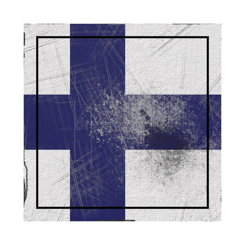 Old Finland flag. 3d rendering of a Finland country flag on a rusty surface vector illustration