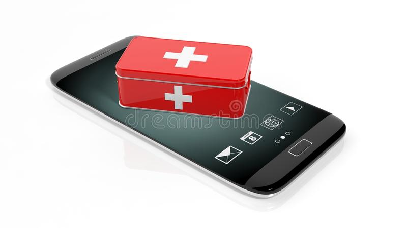 3D rendering of first aid kit on smartphone's screen stock illustration