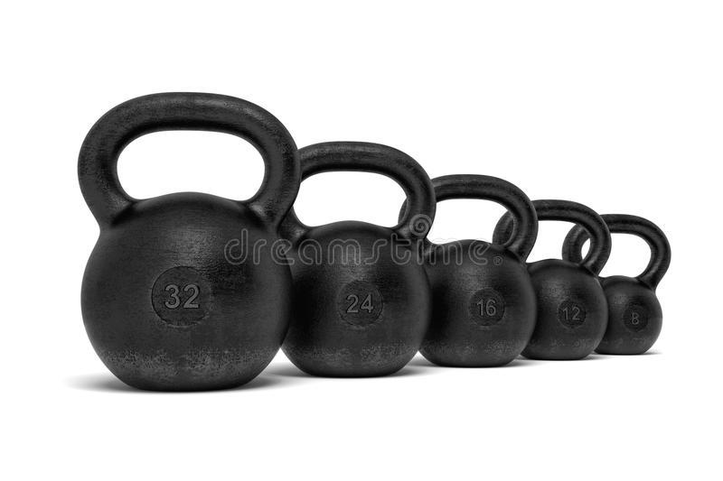 3d rendering of five black iron kettlebells in a single line with different weight stamps of 32, 24, 16, 12 and 8 kg. royalty free stock image
