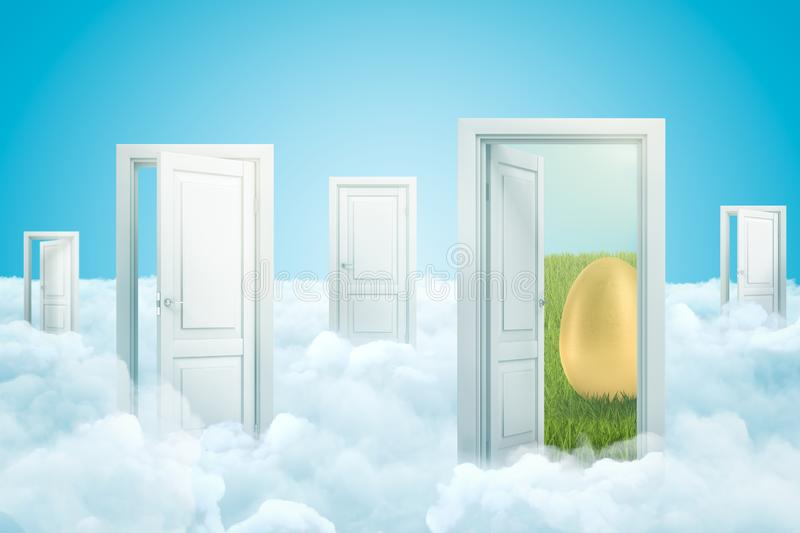 3d rendering of five doors standing on fluffy clouds, one door leading to green lawn with huge gold egg on it. Natural products. Nutrition and diets royalty free illustration