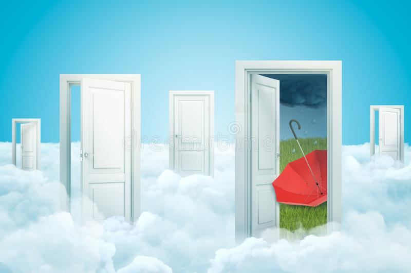 3d rendering of five doors standing on fluffy clouds, one door leading to green lawn with red umbrella lying upside down. On it under dark rainy sky. Weather royalty free illustration