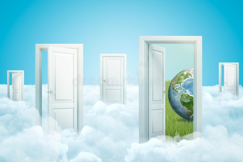 3d rendering of five doors standing on fluffy clouds, one door leading to green lawn with small planet Earth on grass. Environmentalism. Possible future vector illustration