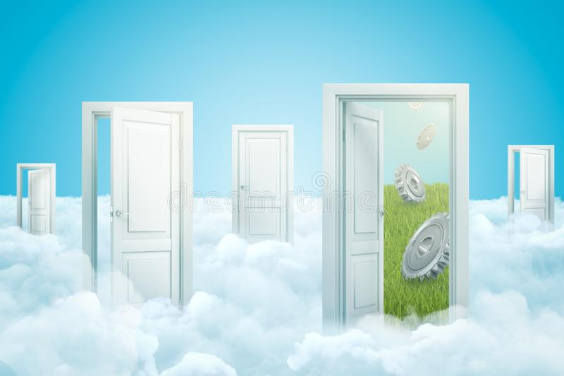 3d rendering of five doors standing on fluffy clouds, one door leading to green lawn with three metal gearwheels falling. From sky. Teamwork. Finding essential stock illustration