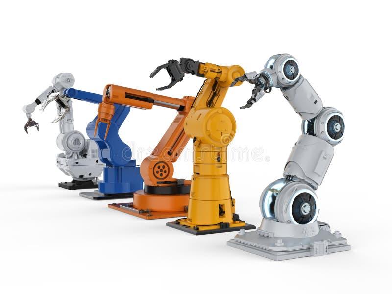 Five robotic arms vector illustration