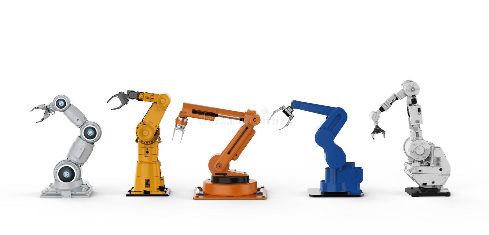 Five robotic arms. 3d rendering five robotic arms in a row on white background vector illustration