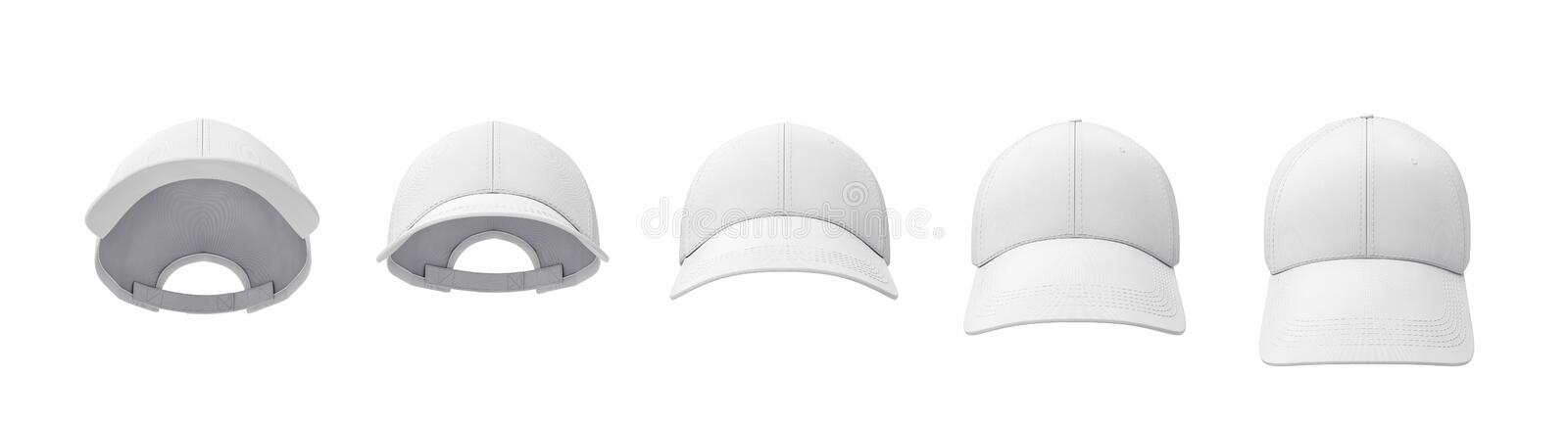 3d rendering of five white baseball caps shown in one line in a front view but in different angles. stock illustration