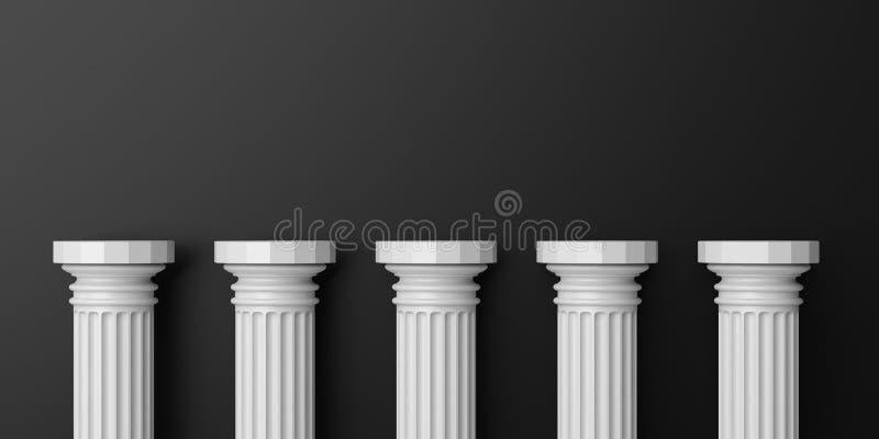 3d rendering five white marble pillars. On black background stock illustration