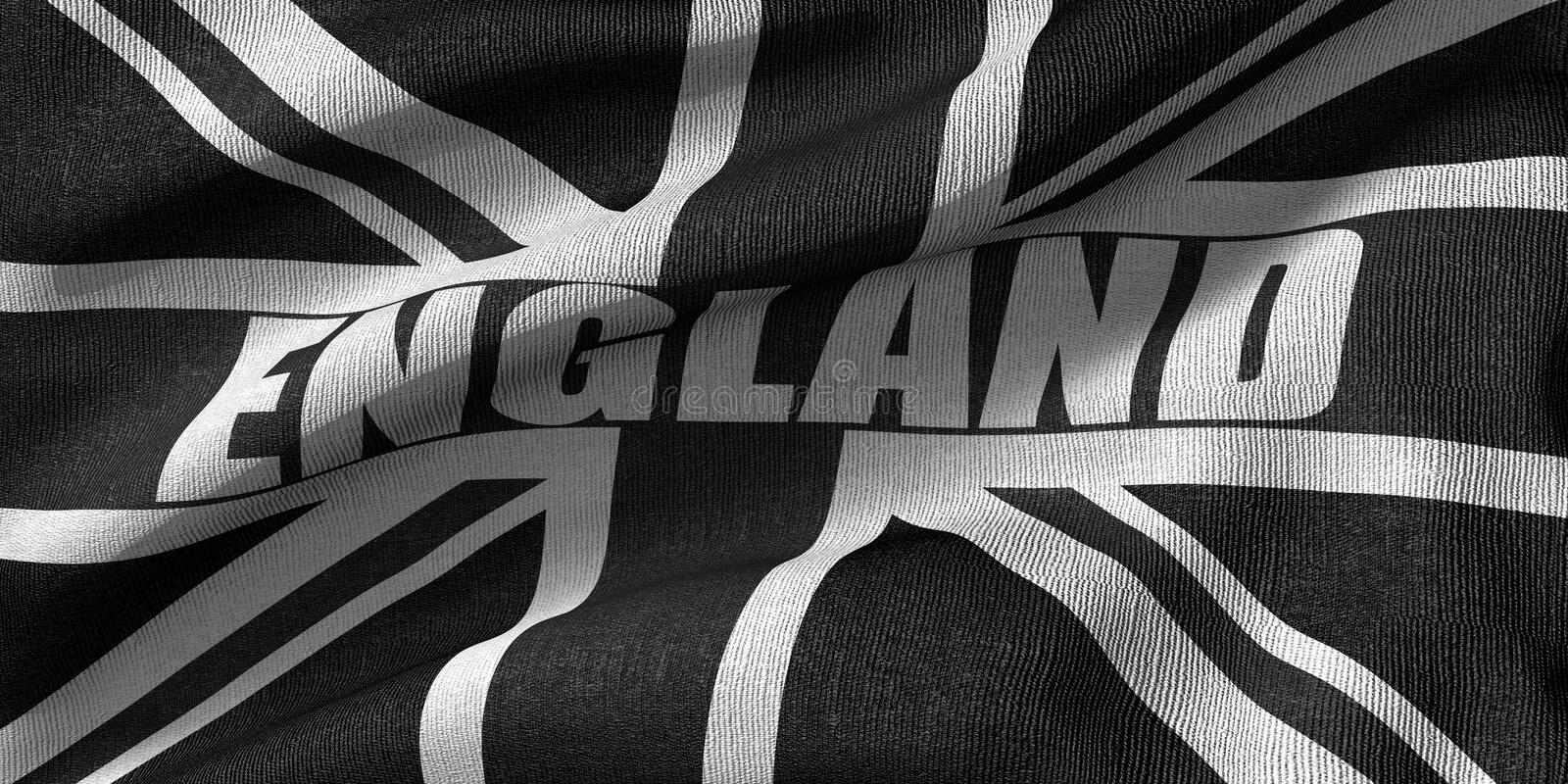 3D rendering of the flag of the united kingdom in black color with fabric texture. Close up royalty free illustration