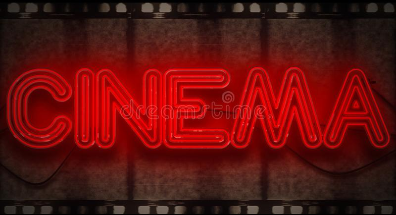 3D rendering flickering blinking red neon sign on film strip background, cinema movie film entertainment sign royalty free stock photography