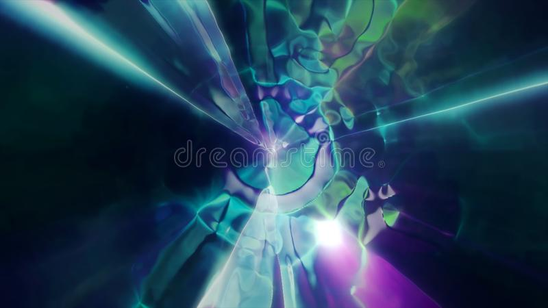 3D rendering the flight to another dimension through a wormhole in time and space. Bright, high-energy and high-tech tunnel. 3D rendering of space flight to vector illustration