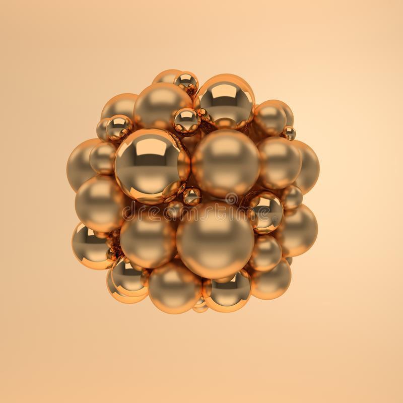 3d rendering of floating polished glossy and mat gold spheres on beige background. Abstract geometric composition. Group of balls royalty free illustration