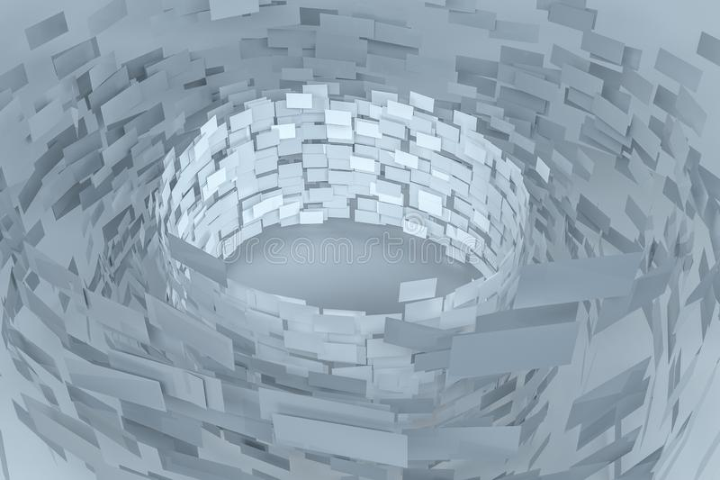 3d rendering, flow square paper, creative background royalty free illustration