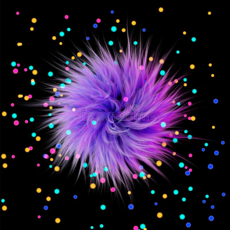 3d rendering. Fluffy purple ball on the background of multicolored highlights or glowing balls. Graphic illustration stock illustration