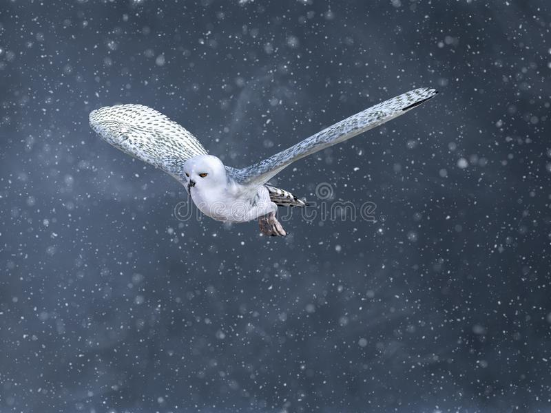 3D rendering of a flying snow owl in a winter storm royalty free illustration