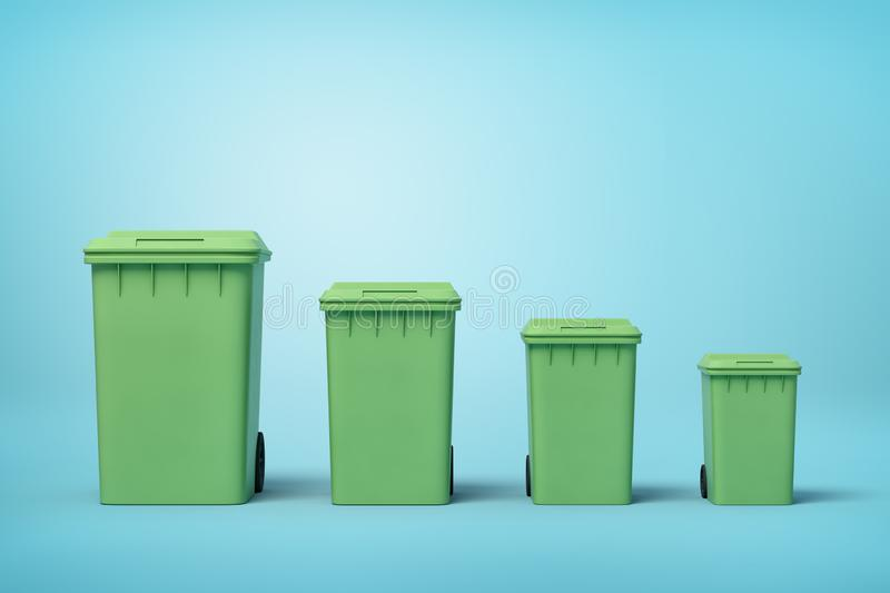 3d rendering of four green trash cans in a row according to size from biggest to smallest on light-blue background. Sort out rubbish. Recycling bins. Garbage stock photo