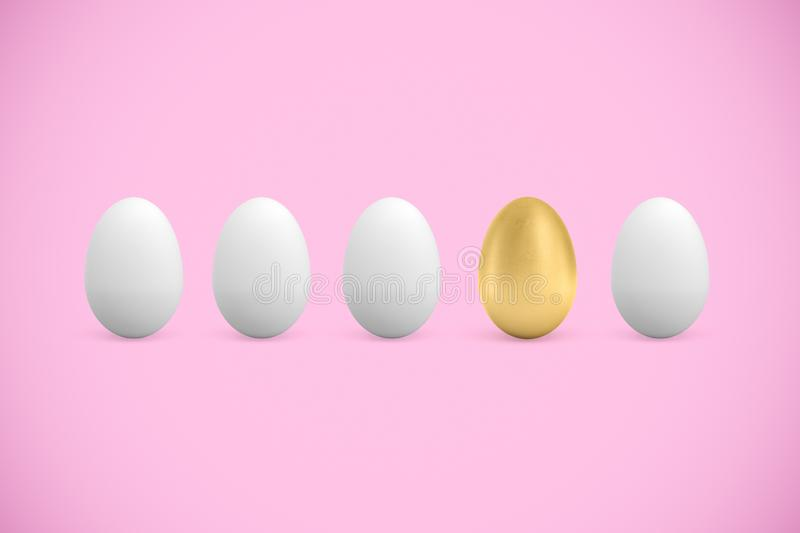 3d rendering of four white and one golden chicken eggs on pink background royalty free stock photography
