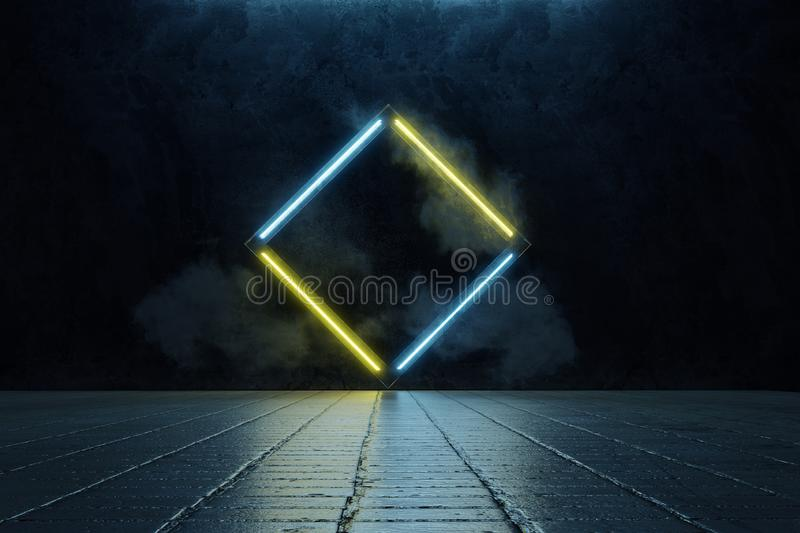 3d rendering of framed rotated square shape in yellow and blue neon light. Stamped in grunge wall and surrounded by smoke royalty free illustration