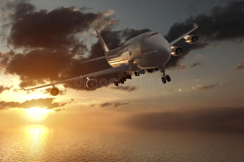 3d rendering from a front view of a big airliner in a sunset over the ocean stock photos