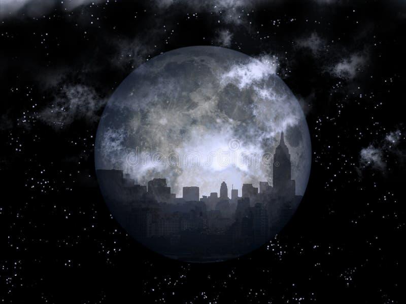 Full moon night city vector illustration