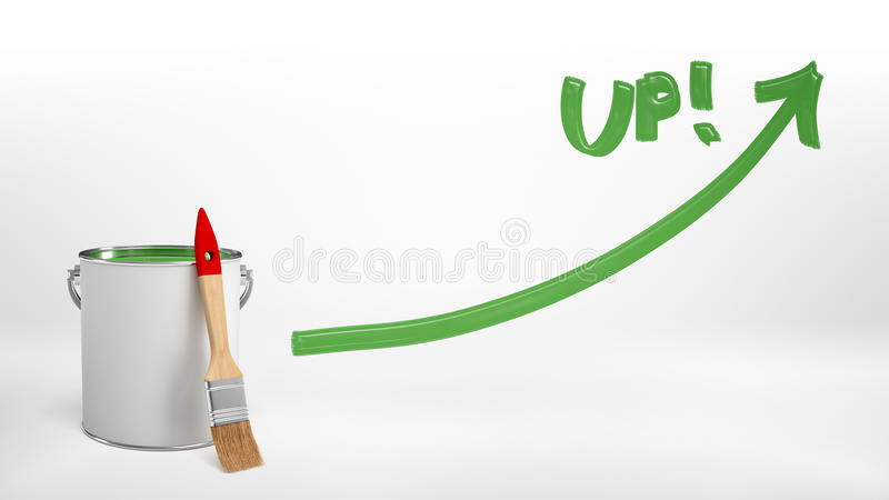 3d rendering of a full red paint bucket with a new brush leaning on it beside a green paint line with an arrow and a vector illustration