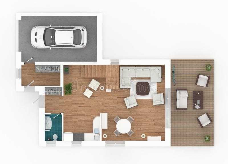 3d rendering of furnished home apartment royalty free illustration